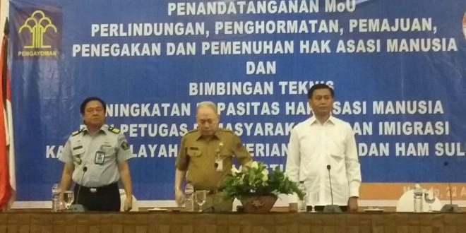 Penandatanganan kerja sama MoU antara Dirjen HAM dan Gubernur Sulawesi Utara