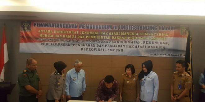 Penandatanganan MoU antara Ditjen HAM dengan Pemda Provinsi Lampung